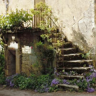 French Staircase with Flowers II-Marilyn Dunlap-Art Print
