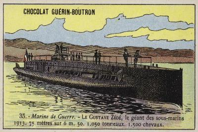 French Submarine Gustave Zede, 1913--Giclee Print
