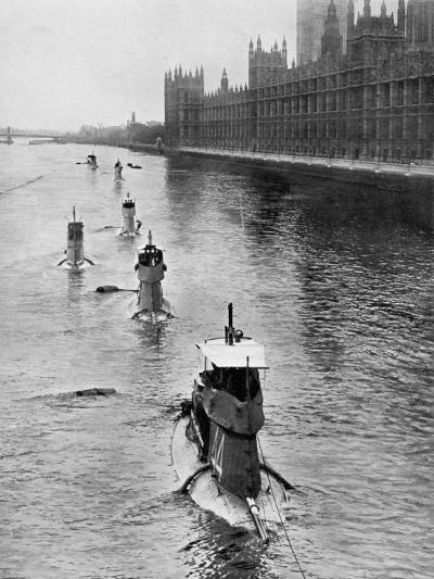 French Submarine 'Saphir' (Q4) and Five Others Moving from Gravesend to London, July 1909--Giclee Print
