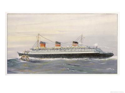 French Transatlantic Liner-Albert Sebille-Giclee Print
