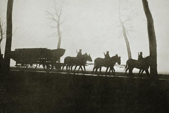 French troops on the road to the trenches, France, World War I, 1916-Unknown-Photographic Print