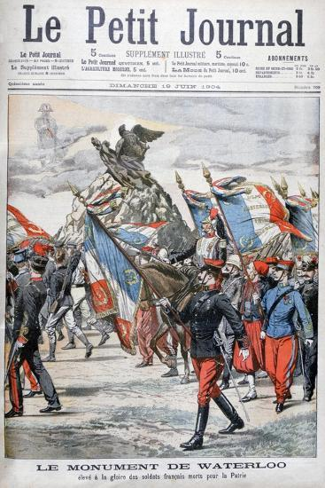 French Troops Parading Past the Monument to the Battle of Waterloo, 1904--Giclee Print