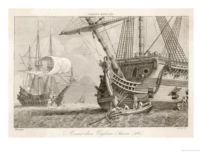 French Warships at Anchor- Morel-Giclee Print