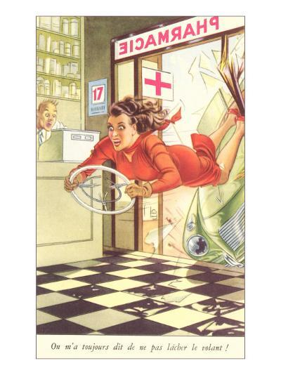 French Woman Flying into Pharmacy with Steering Wheel--Art Print
