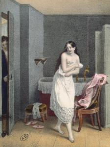 Woman Getting Out of Her Bath, C.1825 (Colour Litho) by French