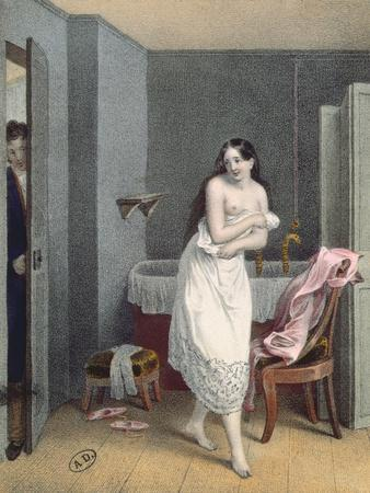 Woman Getting Out of Her Bath, C.1825 (Colour Litho)