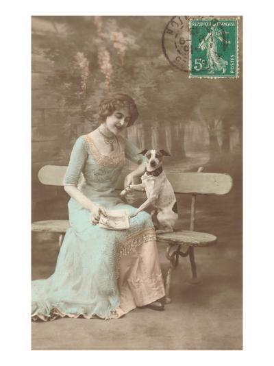 French Woman Talking to Rat Terrier--Art Print