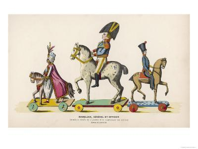 French Wooden Toy Soldiers on Their Horses Which Have Wheels--Giclee Print