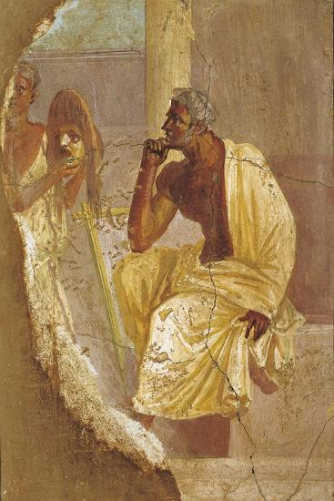 Fresco Depicting Actor and Tragic Mask, from Pompei, Italy--Giclee Print