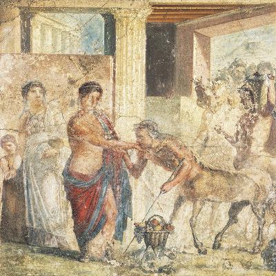 Fresco Depicting Centaur at Wedding of Pirithous and Hippodamia from Pompeii, Italy--Giclee Print