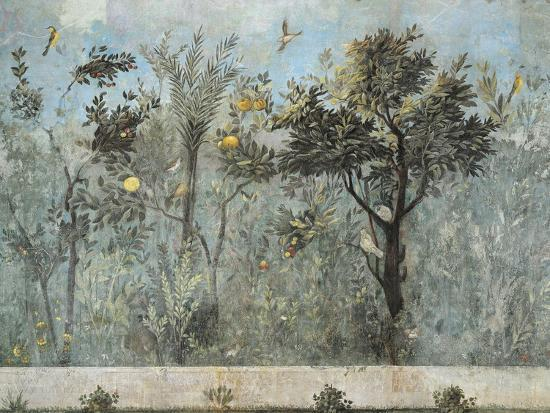 Fresco Depicting Garden with Fruit Trees and Birds, from Rome, Triclinium of House of Livia--Giclee Print