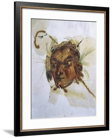 Fresco Depicting Head of God Pan from Acholla, Tunisia A.D.--Framed Giclee Print