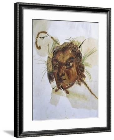 Fresco Depicting Head of God Pan from Acholla, Tunisia A.D.--Framed Giclee Print