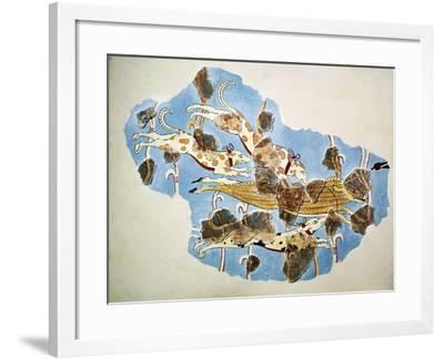 Fresco Depicting Hunting Scene, from Tiryns, Greece--Framed Giclee Print