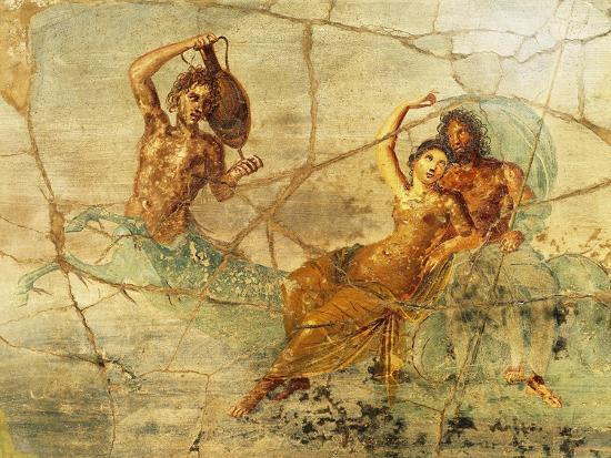 Fresco Depicting Poseidon and Amphitrite, from Pompei, Italy--Giclee Print