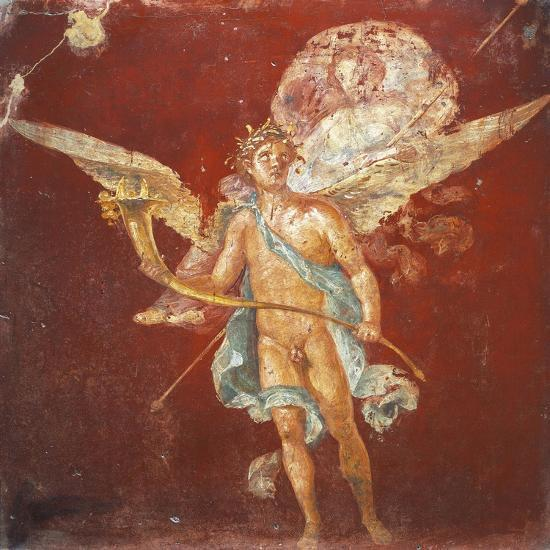 Fresco Depicting Winged Genius Carrying Woman on His Shoulders, from House of Naviglio--Giclee Print