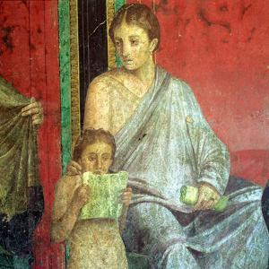 Fresco Detail, Young Girl Reading, 1st Century BC