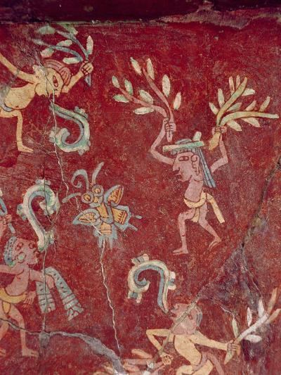 Fresco from the Palace of Tepantitla (Fresco) 407318 Little Figures- Teotihuacan-Giclee Print
