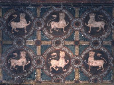 Fresco of Lions on Decorative Ground, 11th C--Photo