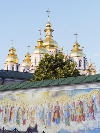 Fresco on Wall of St. Michaels Gold Domed Monastery, 2001 Copy of 1108 Original, Kiev, Ukraine-Christian Kober-Photographic Print