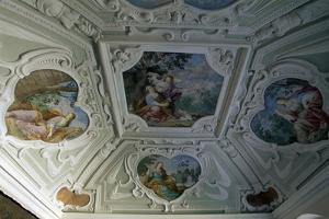 Frescoed Ceiling of Cerveny Kamen Castle, Near Casta. Detail. Slovakia.