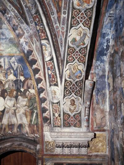 Frescoes on Lower Part of Arch in Upper Church of Sacro Speco Monastery, Subiaco, Italy--Giclee Print