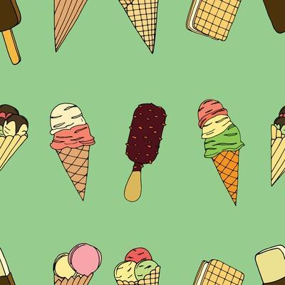 Seamless Pattern with Ice Cream. Vector Illustration