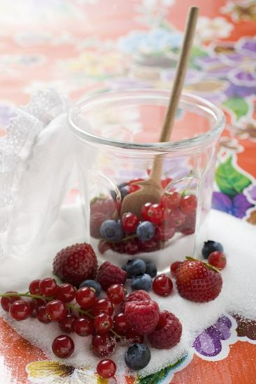 Fresh Berries in Jam Jar with Sugar and Wooden Spoon-Foodcollection-Photographic Print
