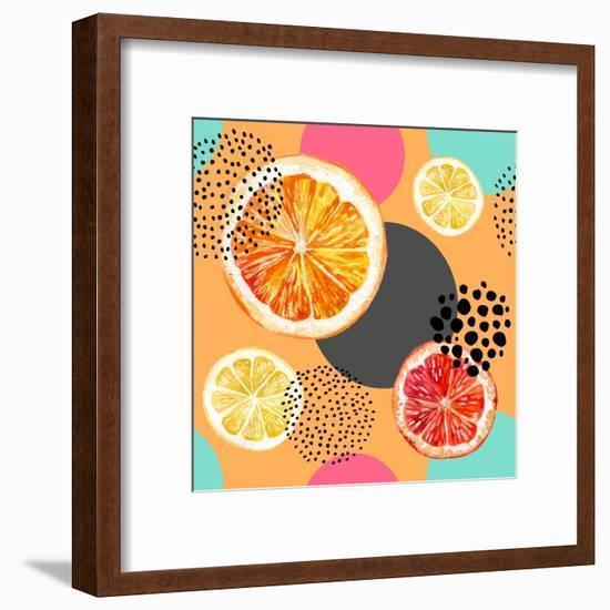 Fresh Citris and Colorful Circle Pattern-tanycya-Framed Art Print