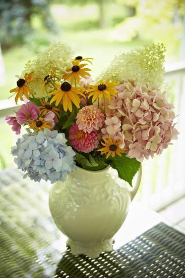 Fresh Cut Flowers in Vase, Bradford, Ontario, Canada-Shannon Ross-Photographic Print