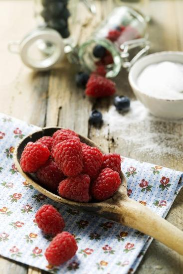 Fresh Raspberries on a Wooden Spoon-Foodcollection-Photographic Print