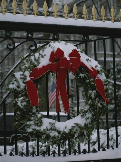 Fresh Snow Covers a Christmas Wreath on the White House Gate-Stephen St^ John-Photographic Print