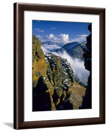 Fresh Snow on Cliffs Above Forest Canyon and Clouds, Rocky Mountain National Park, Colorado, USA-Scott T. Smith-Framed Photographic Print