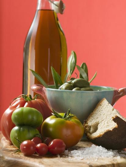 Fresh Tomatoes, Olives, Bread, Salt and Olive Oil--Photographic Print