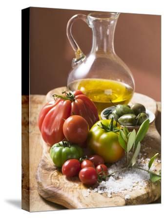 Fresh Tomatoes, Olives, Salt and Olive Oil