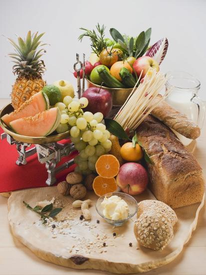 Fresh Vegetables, Fruit, Butter, Nuts and Wholemeal Bread-Foodcollection-Photographic Print