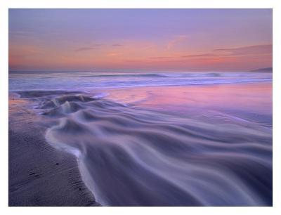 Fresh water stream flowing into the Pacific Ocean, Zuma Beach, Malibu, California-Tim Fitzharris-Art Print
