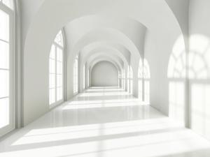 Modern Long Corridor With Big Windows by FreshPaint
