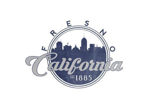 Fresno, California - Skyline Seal (Blue)-Lantern Press-Art Print
