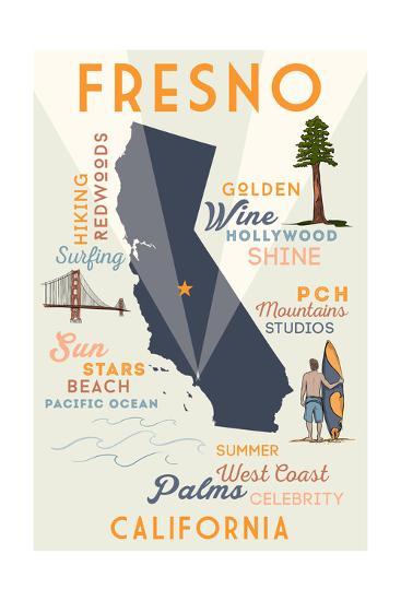 Fresno, California - Typography and Icons-Lantern Press-Art Print