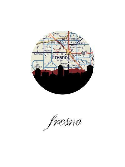 Fresno Map Skyline--Art Print
