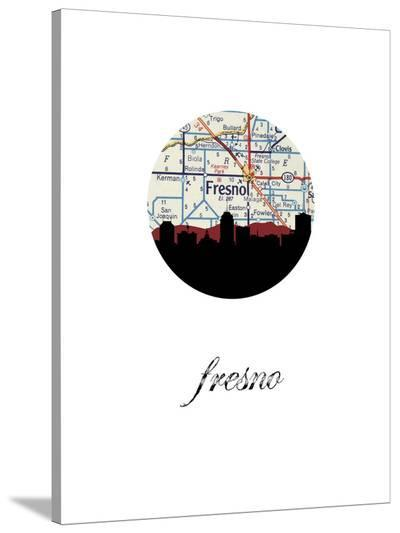 Fresno Map Skyline-Paperfinch 0-Stretched Canvas Print