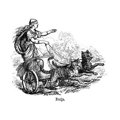 Freya (Frig) Goddess of Love in Scandinavian Mythology, Driving Her Chariot Pulled by Cats--Giclee Print
