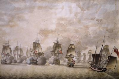 Freya Frigate under Command of Captain Krabbe Attacking British Ships--Giclee Print
