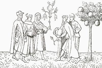 Friar Oderic of Pordenone Holding a Branch from a Tree on Which Birds Grow--Giclee Print