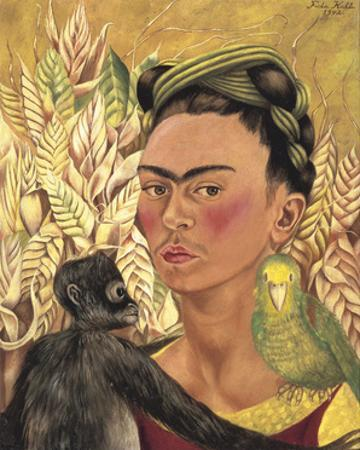 Self-Portrait with Monkey and Parrot, c.1942