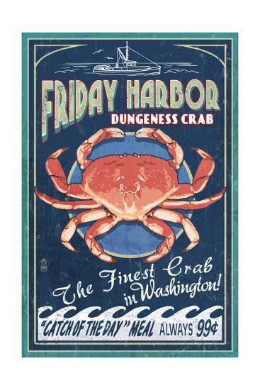 Friday Harbor, San Juan Island, WA - Dungeness Crab Vintage Sign-Lantern Press-Art Print
