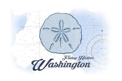 Friday Harbor, Washington - Sand Dollar - Blue - Coastal Icon-Lantern Press-Art Print