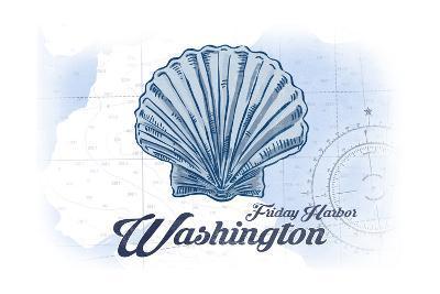 Friday Harbor, Washington - Scallop Shell - Blue - Coastal Icon-Lantern Press-Art Print