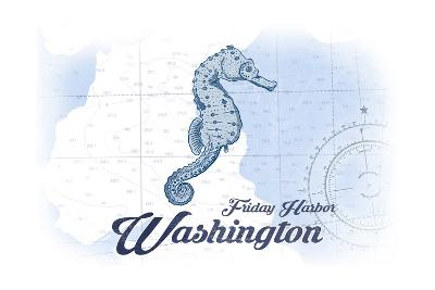 Friday Harbor, Washington - Seahorse - Blue - Coastal Icon-Lantern Press-Art Print